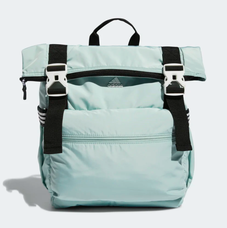 The backpack with both its zips and clips done up