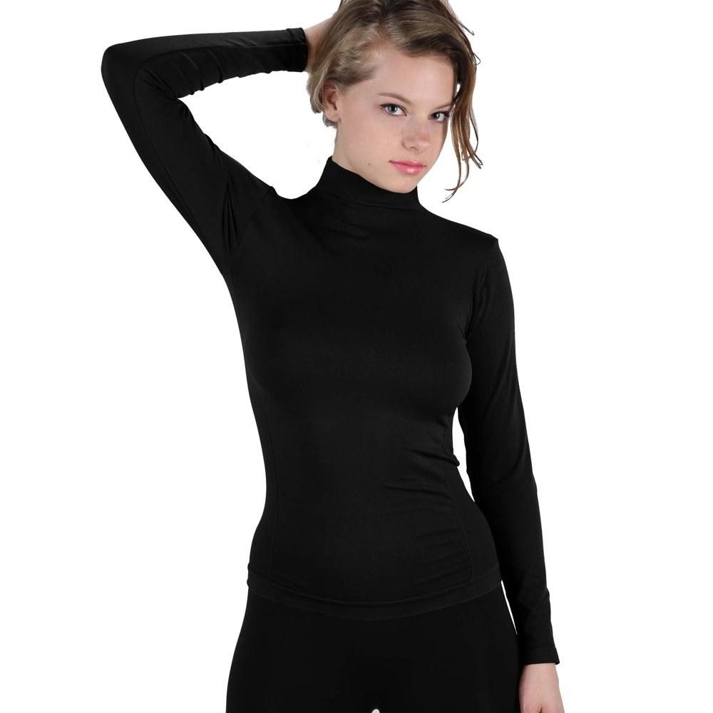 model wears black turtleneck shirt