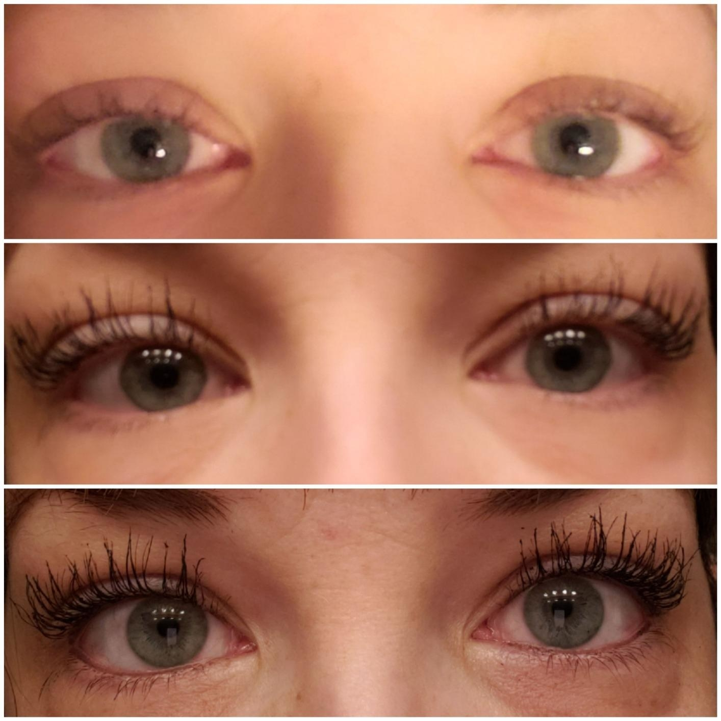 A reviewer's lashes before mascara, after one layer, and after two layers, with dramatic length and volume after