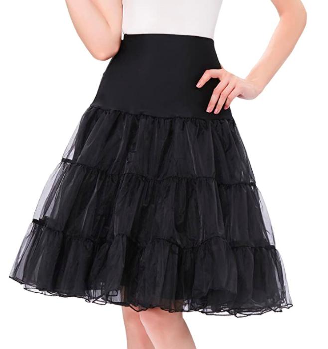 a model wearing the petticoat in black