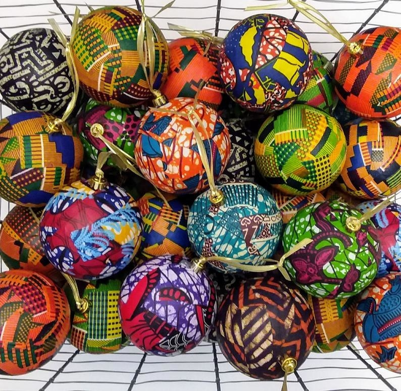 The ball ornaments in different color kente clothes