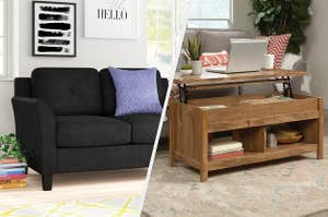 to the left: a black couch, to the right: a coffee table with a pop up table top