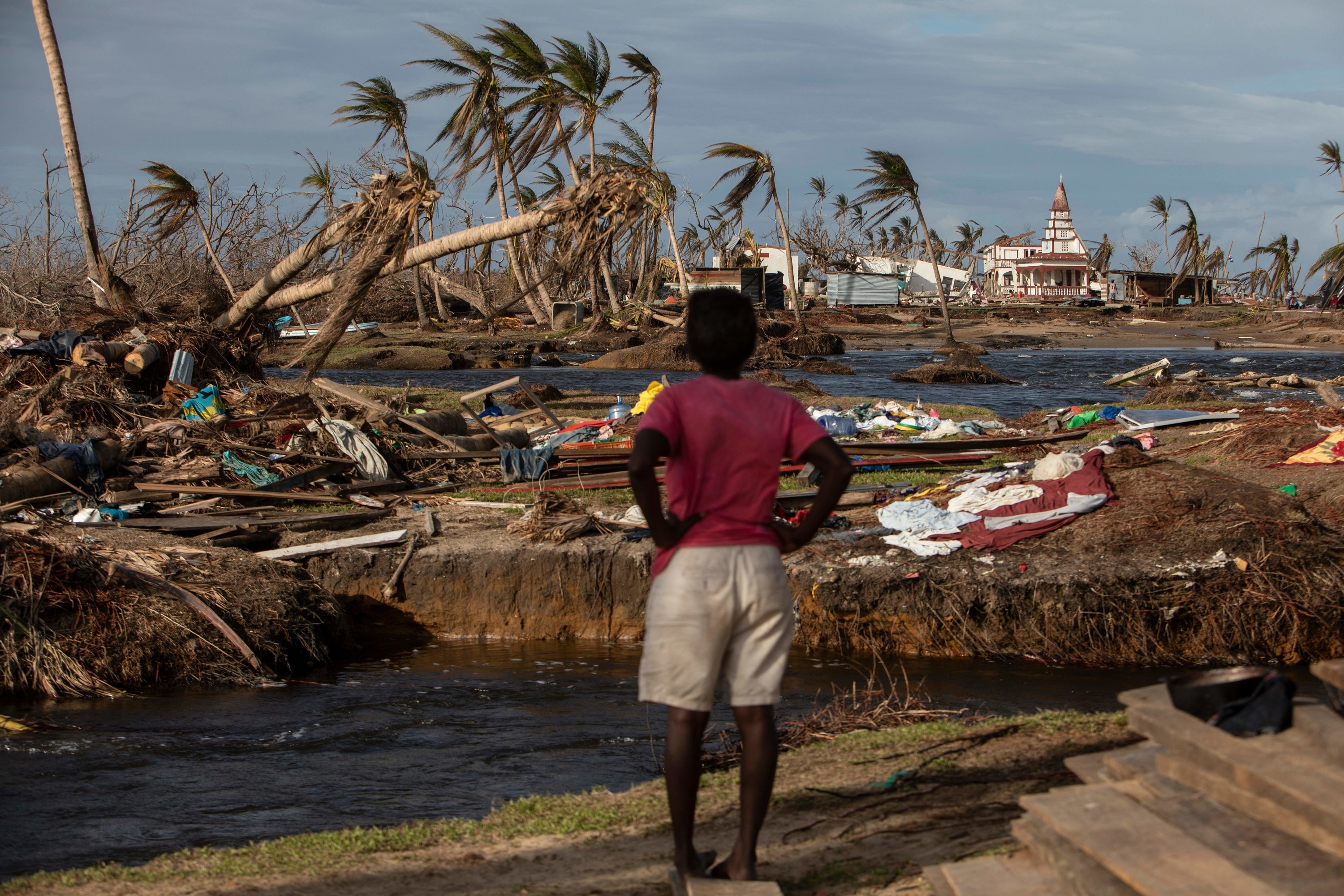 A woman in the foreground surveys hurricane wreckage including fallen palm trees and flattened homes