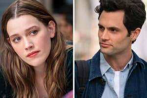 side by side images of Victoria Pedretti and Penn Badgley in You