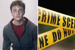 (left) A bloody Harry Potter looks up in fear; (right) a close up of yellow crime scene tape