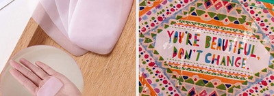split thumbnail of soap sheets and a holder, then change purse that says
