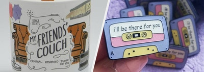 (left) Illustrated candle (right) Mixtape pin with the words