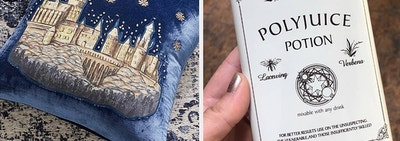 on left a velvet pillow with Hogwarts and on right reviewer holding polyjuice potion flask