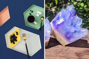 geometric stacking trays for food, soap that looks like a crystal