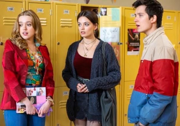 Aimee Lou Wood as Aimee, Emma Mackey as Maeve, and Asa Butterfield as Otis in Sex Education