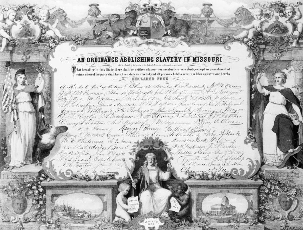 Stock image of slavery being abolished in Missouri.