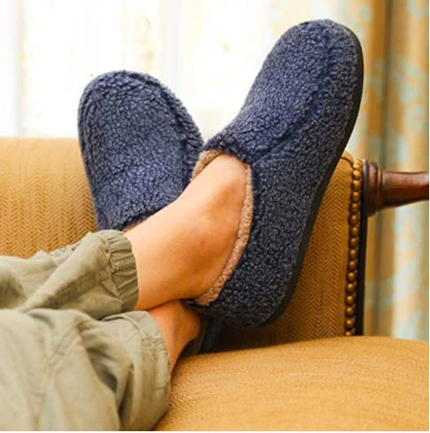 the slippers in navy