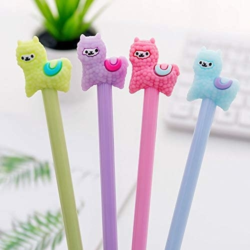 the llama pens in green, purple, pink, and blue