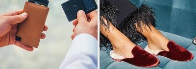 (left) Brown leather wallet (right) Red velvet fur slides