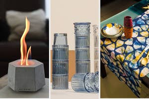 split thumbnail of planter-like mini fireplace, stackable Greek column-like drinking glasses, colorful table runner