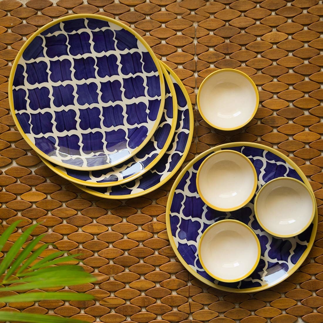 Blue and yellow Moroccan print plates and bowls.