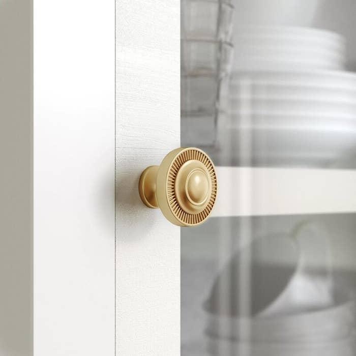 The gold door knob