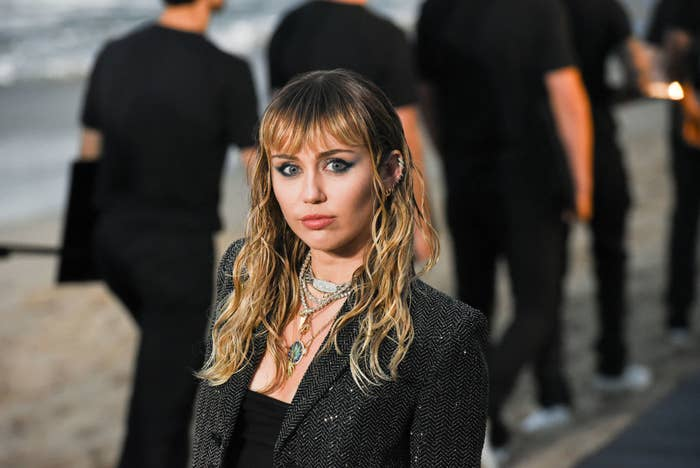 Miley at Saint Laurent spring show