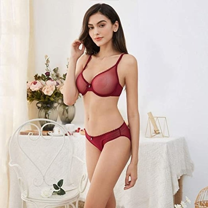 model wearing the red version of the set