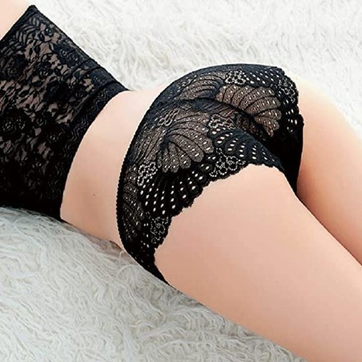model wearing the panties with back view that gives off a butterfly-style