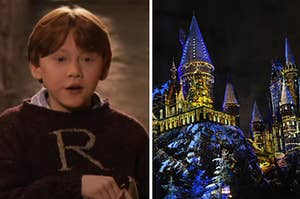 Ron is on the left opening a gift with the Hogwarts castle on the right