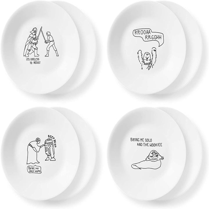 """The set of four plates displays a fight with Darth Vader, Princess Leia, a roaring Yeti, and a monster saying, """"bring me solo and the wookie"""""""