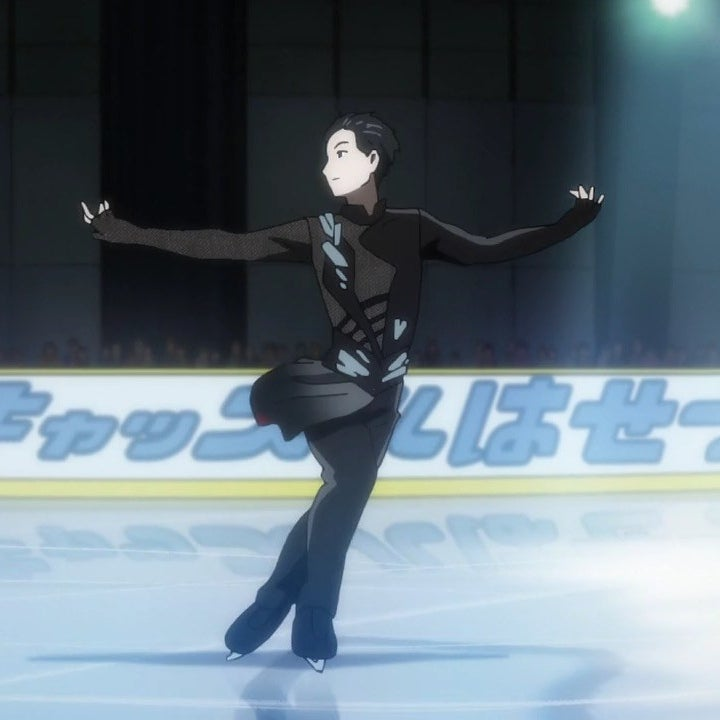 Yuri performing an ice skating routine while in an arena