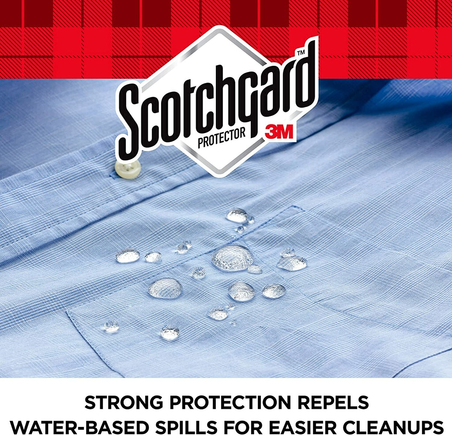 The product on a shirt showing it's repelling water