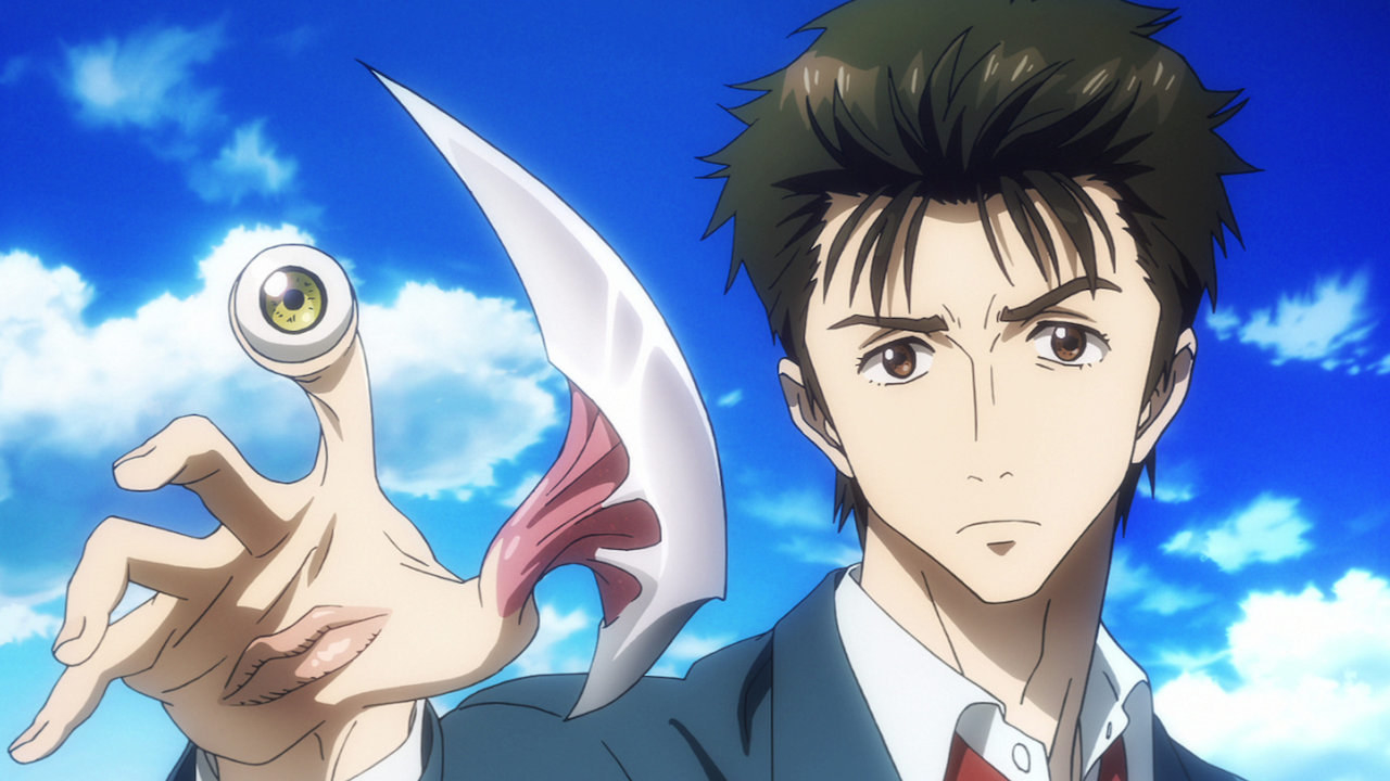 A closeup of Shinichi Izumi holding up his right hand, which has the parasyte named Migi attached