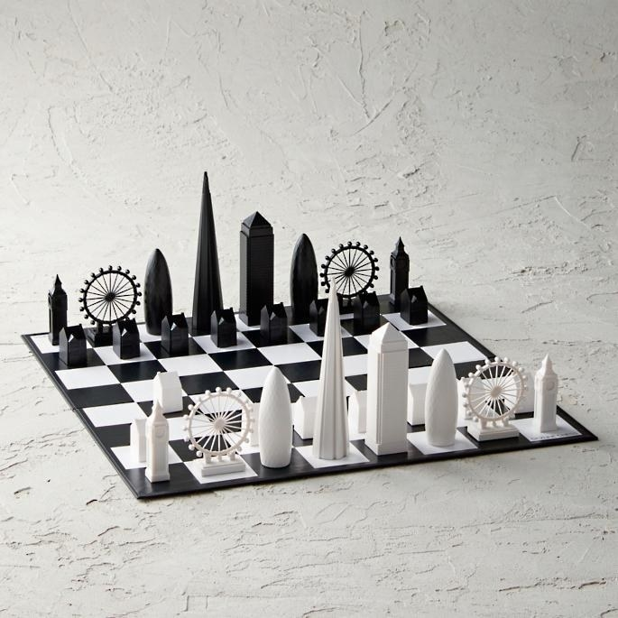 chess set with buildings from london