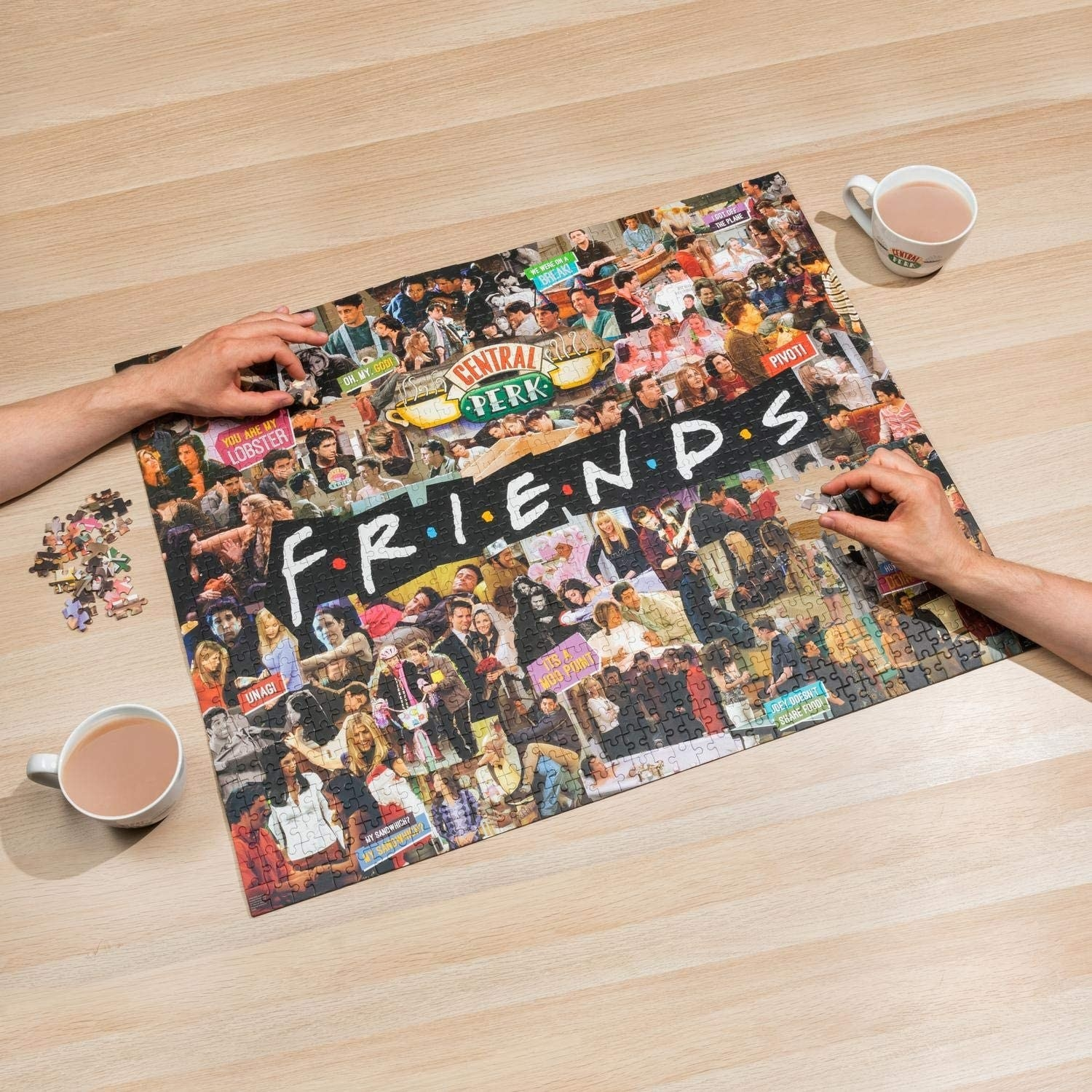 puzzle that says friends with collage with scenes from the show