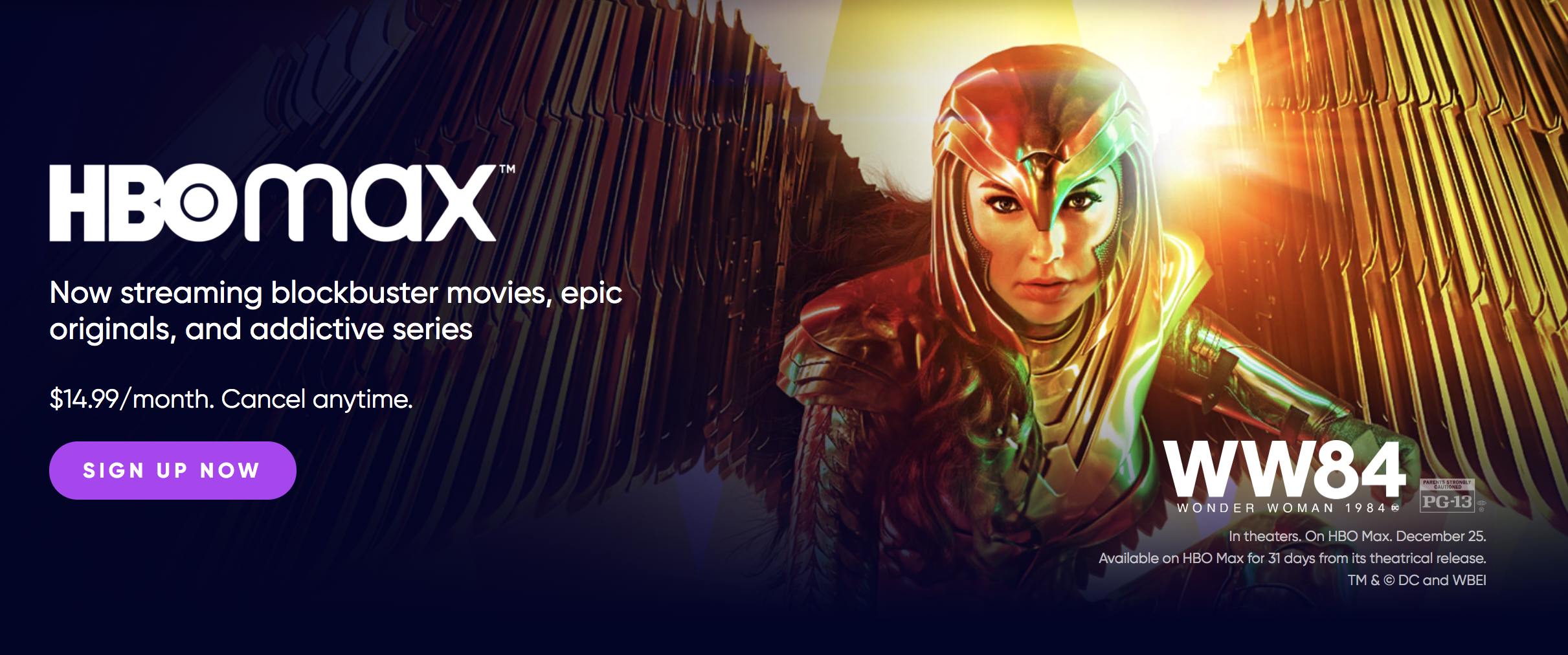 The HBO max banner with an image from Wonder Woman 1984