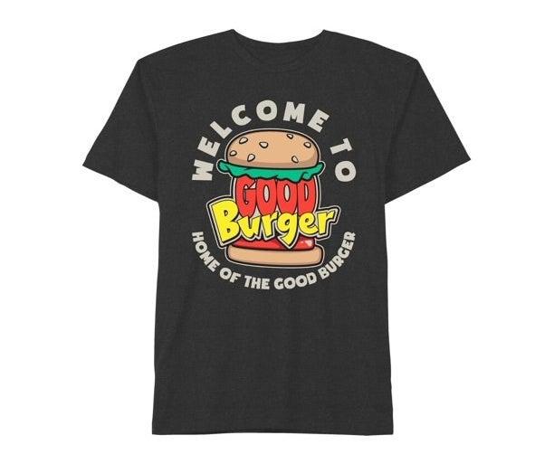 "The shirt taht says, ""Welcome to Good Burger, home of the good burger"""
