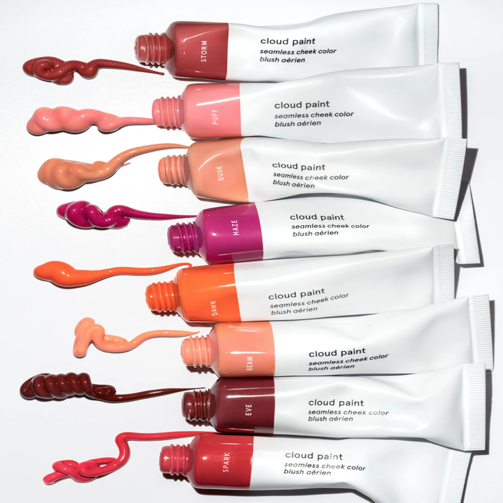 the eight different glossier cloud paint tubes