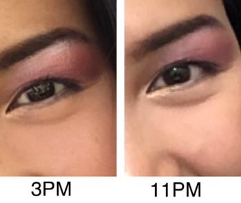 a reviewer showing how their eyeshadow stayed in place from 3pm to 11pm