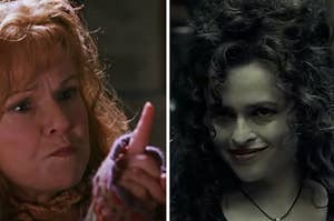 Molly Weasley is pointing her finger at Bellatrix on the right
