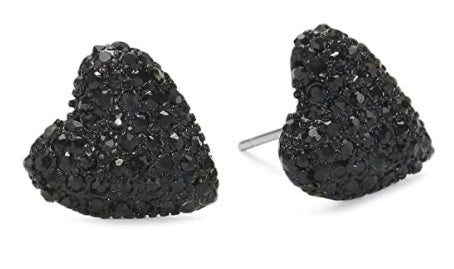 Heart stud earrings with black crystals