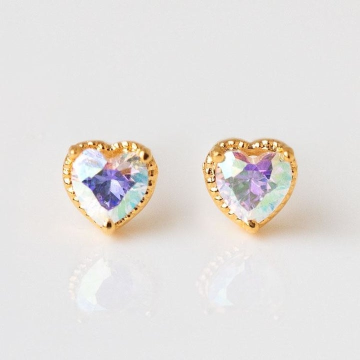 Gold plated stud earrings with cubic zirconia hearts