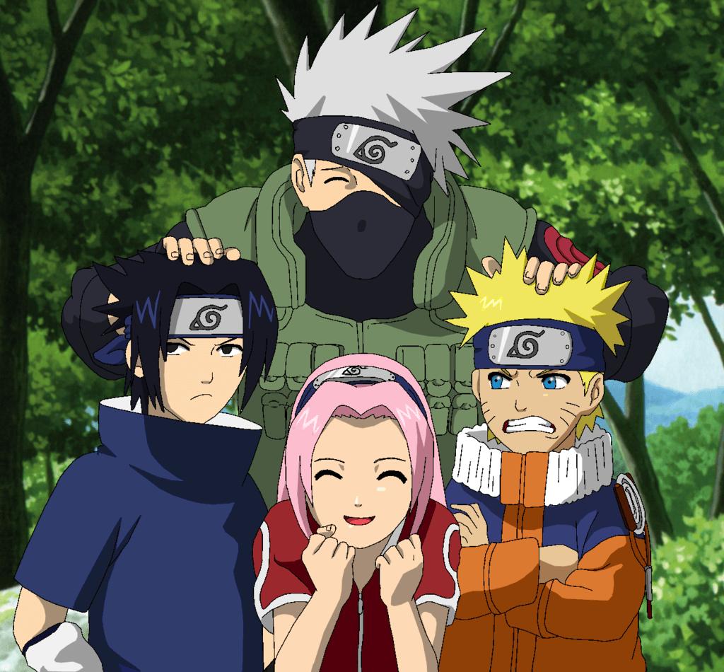 Naruto, Sasuke, Kakashi and Sakura huddling together