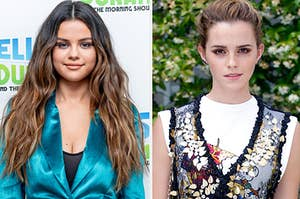 Selena Gomez is posing at an event with Emma Watson posing on the right