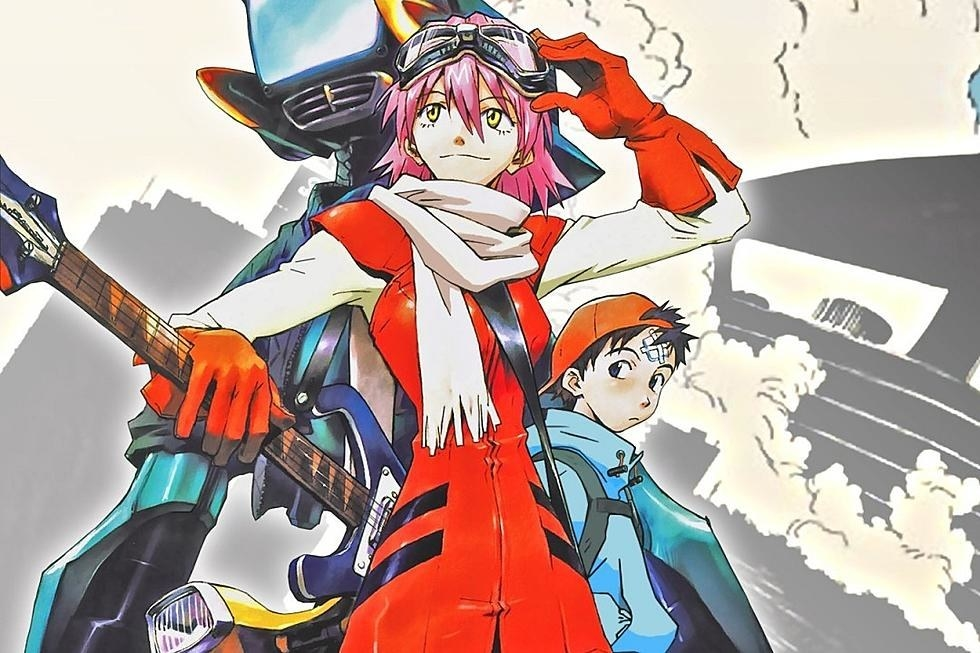 Haruko and Naota standing side-by-side; Haruko is holding her guitar and her vespa is behind her