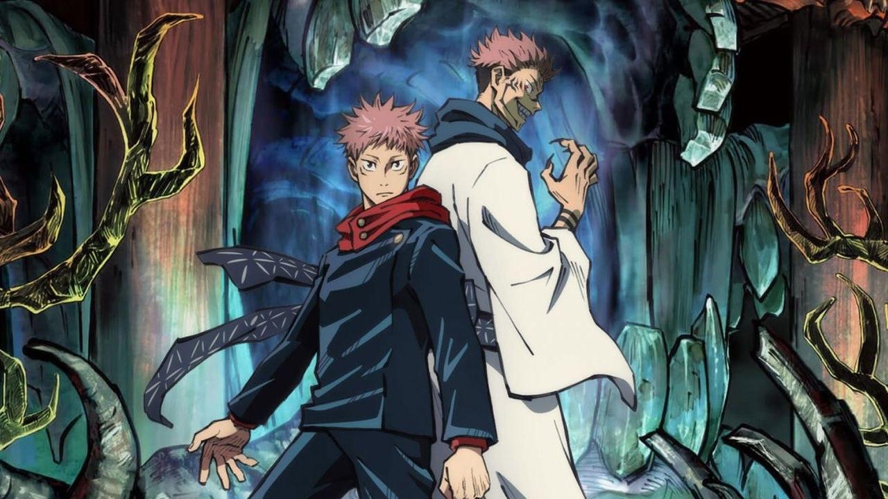 Itadori Yuuji  and Ryomen Sukuna standing back-to-back