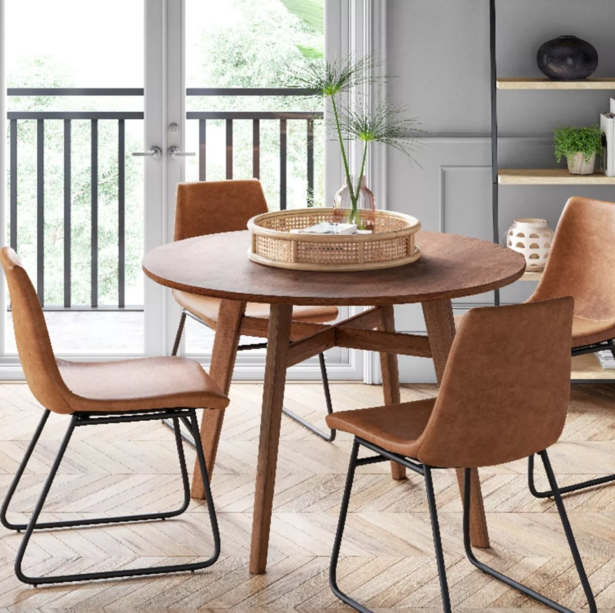 Brown faux leather dining chairs with metal legs
