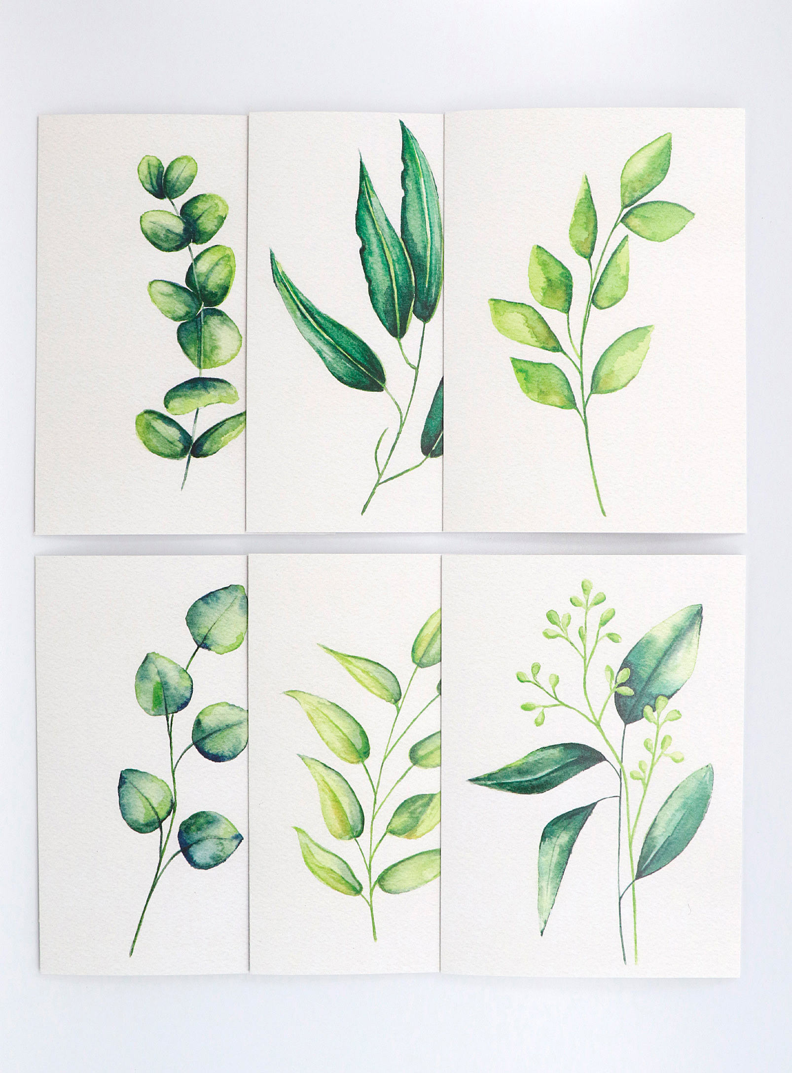 Six greeting cards on a plain background
