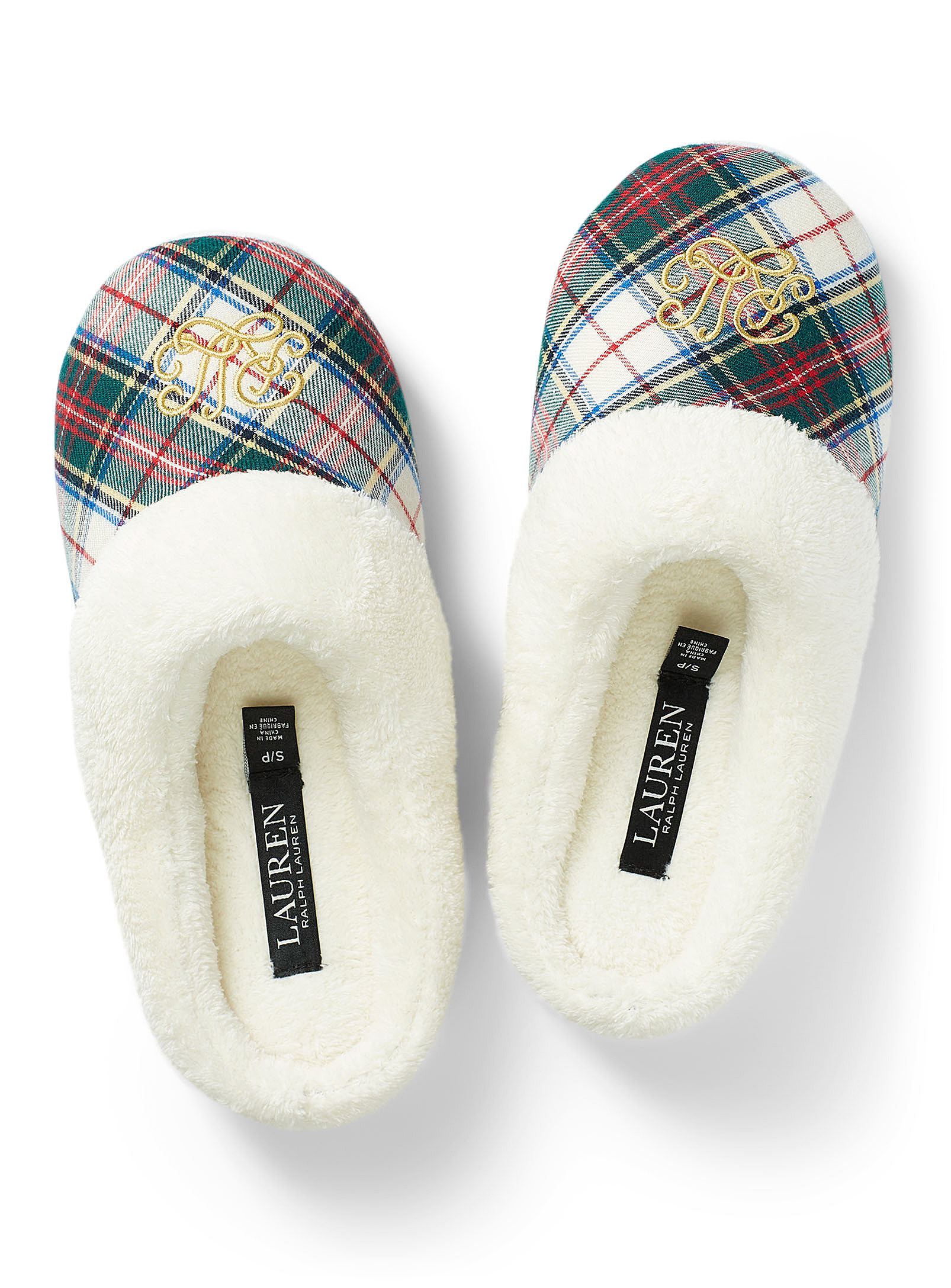 A pair of faux fur lined slippers