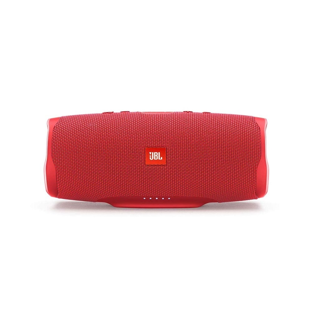 a red jbl speaker in an oblong shape