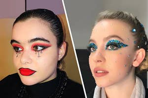 A dark inspired makeup look and a jewel inspired makeup look from Euphoria