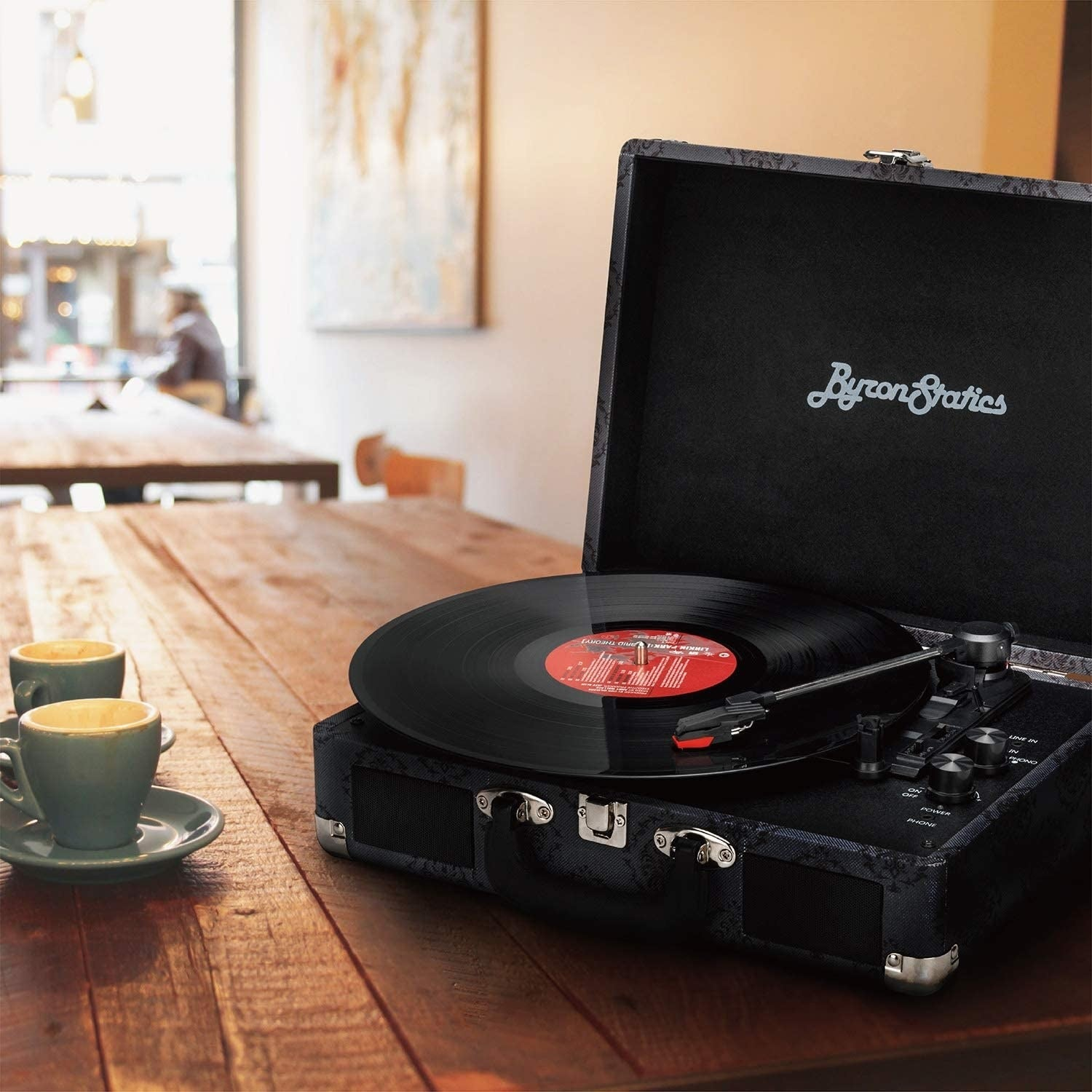 A record player with a vinyl record ready to be played