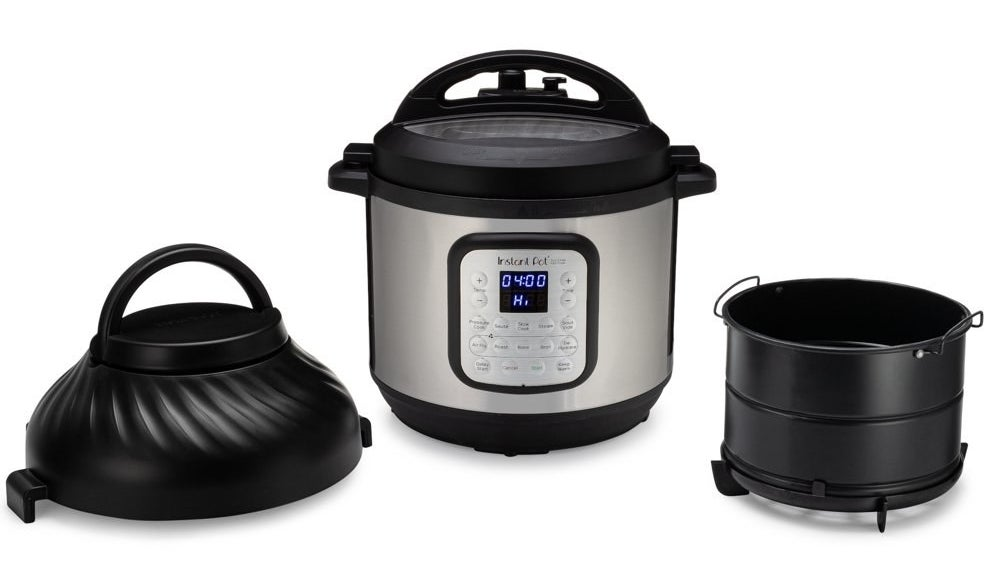 a silver and black instant pot air fryer desembled to show the lid and inner compartment