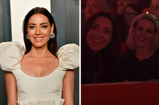 Aubrey Plaza on the red carpet next to a screenshot of her and Kristen Steward in